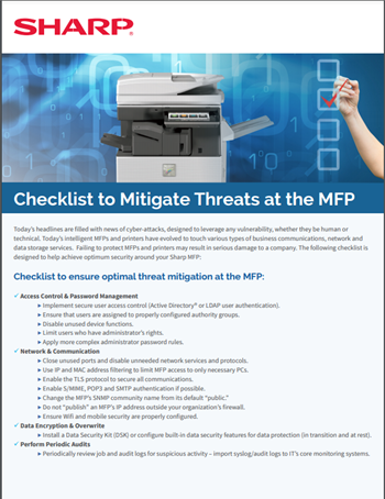 Checklist to Mitigate Threats at the MFP