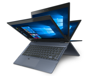Sharp Dynabook laptop showing angle of disply