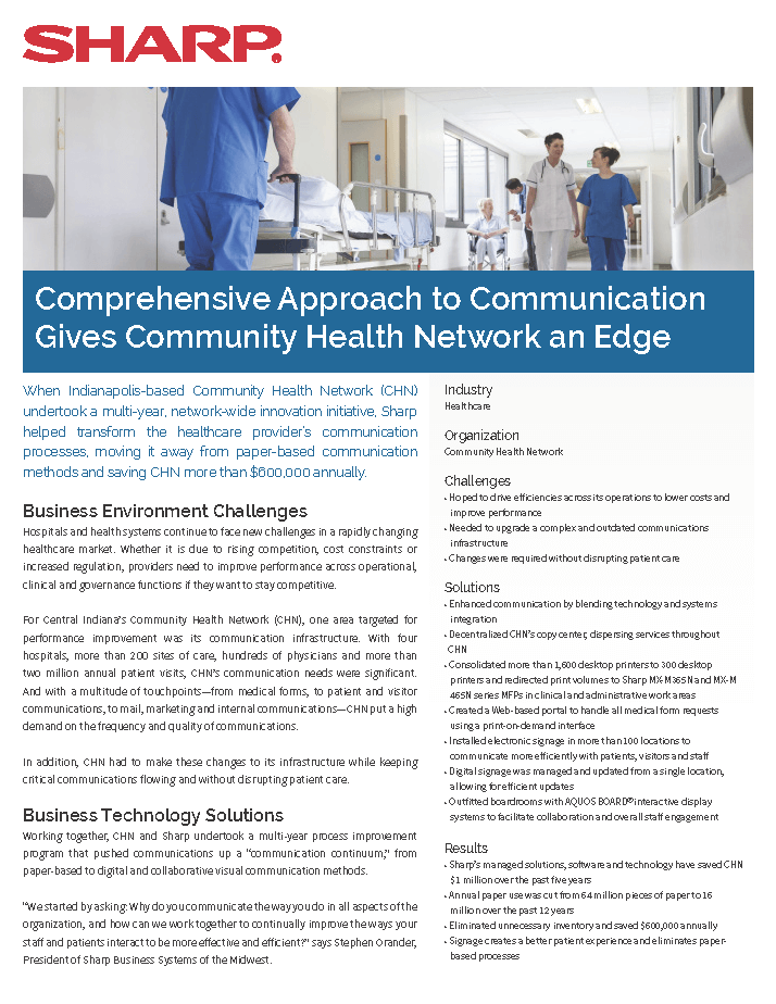 Community Health Network saves $1 million through managed solutions