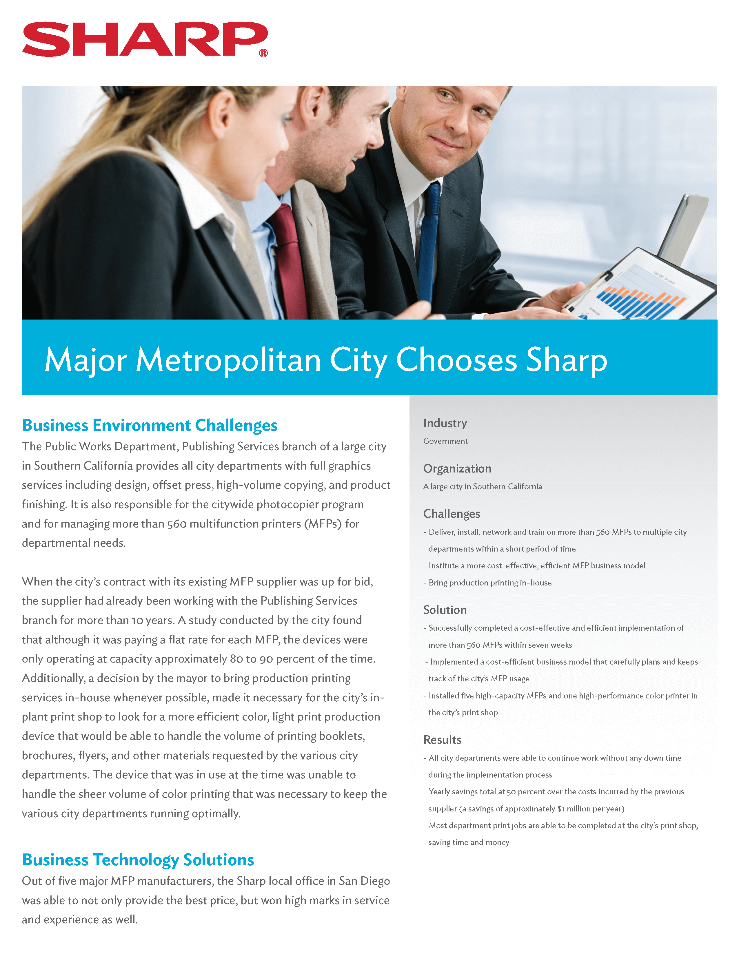Metropolitan city saves 50% over the cost incurred by the previous supplier