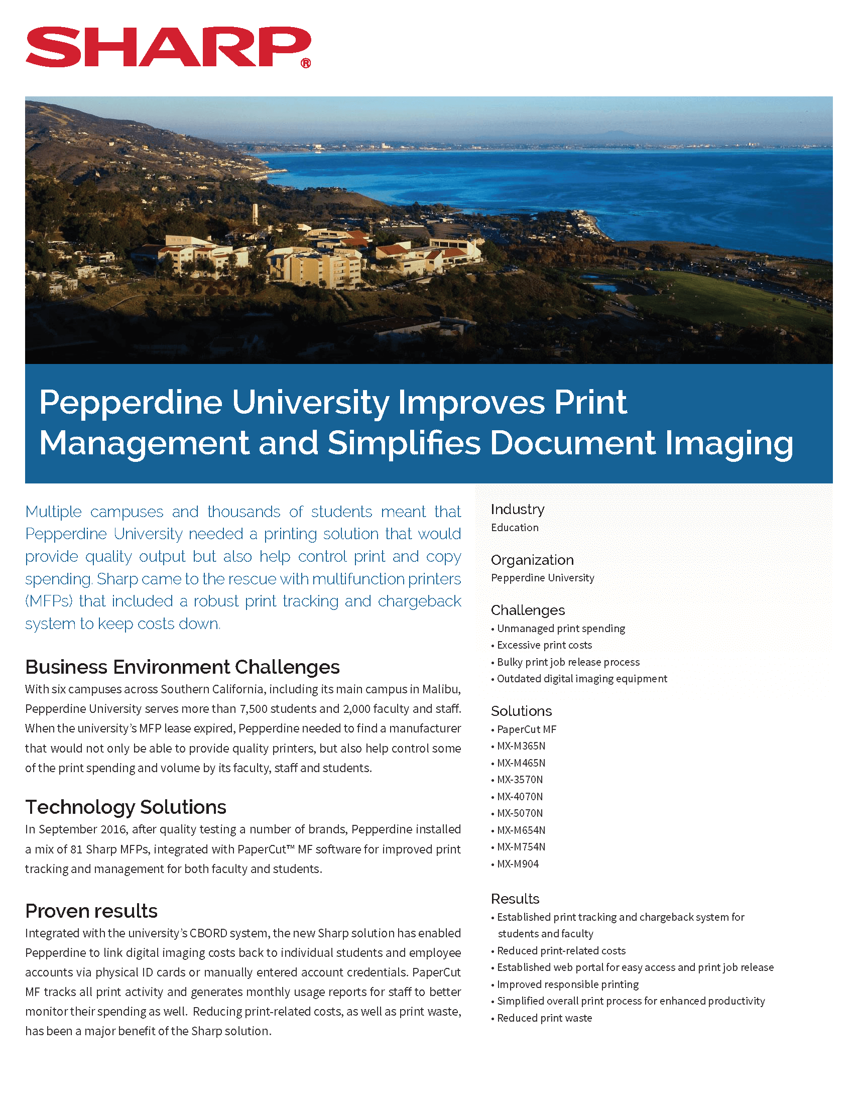 Pepperdine University simplifies printing and control of faculty/student usage